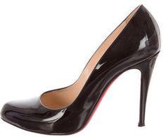 Christian Louboutin Patent Leather Semi Pointed-Toe Pumps - Black patent leather Christian Louboutin semi pointed-toe pumps with covered stiletto heels.