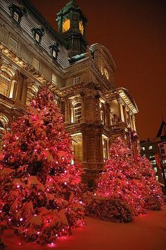 Christmas in Hotel de Ville Montreal, Old Montreal, Canada.