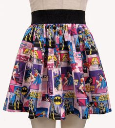 You want this skirt, right? - How cool is this Superhero skirt featuring Supergirl, Wonder Woman and Batgirl? Pull on a your favorite superhero t-shirt, your Batgirl or Wonder Woman Chucks and this. Batgirl, Supergirl, Wonder Woman, Moda Nerd, Nerd Fashion, Fashion Outfits, Grunge, Cute Skirts, Rock