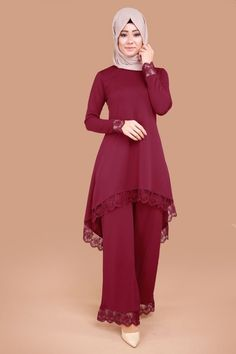 Combined Claret Red With Lace Detail Trousers Pakistani Fashion Casual, Pakistani Dresses Casual, Pakistani Dress Design, Abaya Fashion, Islamic Fashion, Muslim Fashion, Modest Fashion, Fashion Dresses, Stylish Dresses For Girls