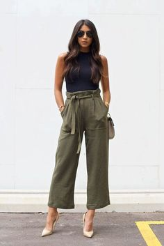 c3c1f68daee spring   summer - street style - street chic style - summer outfits - party  outfits - casual outfits - black sleeveless crop top + olive belted  culottes + ...