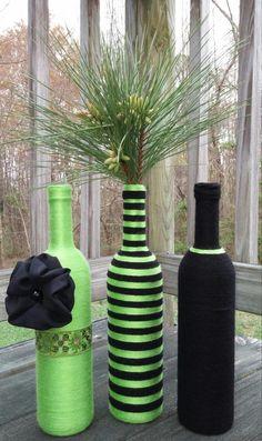 Lime Green Yarn bottles, vase Set, Flower Vases, Centerpieces, Home decor, home & Living, Yarn Art, Wedding Decor, Vases, Home decorating by SiminaBanana on Etsy