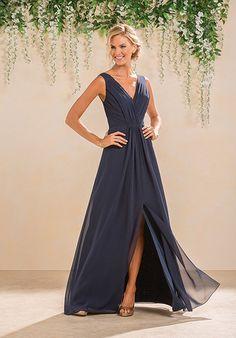 Floor length v-neck black bridesmaid dress |  B2 by Jasmine b183012 | http://trib.al/HRUKqYm