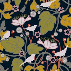 Bring a forest of color into your living space with the Borastapeter Lakely Enchanted Forest Wallpaper . Artist Hanna Werning designed this wallpaper. Forest Wallpaper, Print Wallpaper, Pattern Wallpaper, Wildlife Wallpaper, Brewster Wallpaper, Contemporary Wallpaper, Motif Floral, Little Birds, Surface Pattern Design