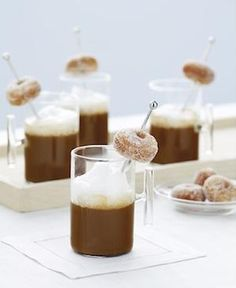 Butler pass little espressos with little sugar rubbed donuts hanging from the stir sticks! This could even be passed as the cake is being served. You could have a variety of flavors too... SO ADORABLE!!!