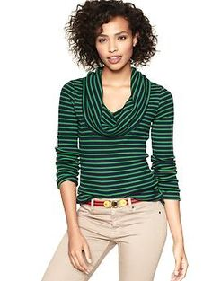 comfy...good alternative to your chunky turtlenecks Striped cowlneck waffle T | Gap