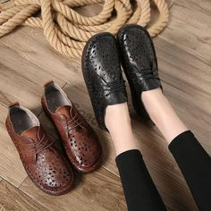Women's Casual Shoes Summer Hollow Out Women Flats Original Genuine Le – Touchy Style Brown Shoes Outfit, Black Shoe Boots, Black Shoes Sneakers, Shoes With Jeans, Flat Shoes, Winter Work Shoes, Casual Work Shoes, Comfortable Work Shoes, Women's Casual