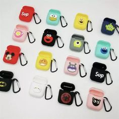Shockproof Soft TPU Gel Case Cover with Keychain Carabiner for Apple AirPods Compatible with AirPods 2 and 1 Whimsical Corals Design
