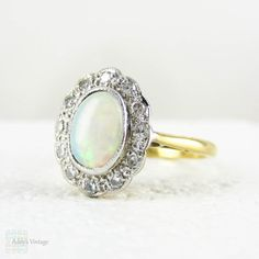 Art Deco Opal & Diamond Ring Large Opal Cabochon and by Addy