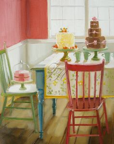 The Cake Enthusiast Open Edition Print by janet hill Janet Hill, Large Prints, Oeuvre D'art, Food Art, Room Paint, Art Gallery, Illustration Art, Sweet, Etsy