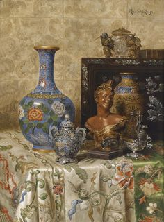 Max Schödl (Austrian, 1834-1921). Still life with asian vases, 1895