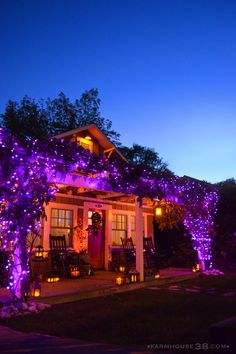 As usual, we've got to keep up with the Joneses for Halloween. Our little town goes crayons for Halloween, so we always feel 'pressured' to assimilate. It's the town's… Halloween Veranda, Casa Halloween, Purple Halloween, Halloween Inspo, Scary Halloween Decorations, Halloween Home Decor, Halloween 2019, Holidays Halloween, Halloween Lighting
