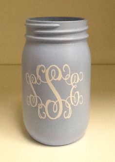 Glass Mason Jar  painted and monogrammed by RememberedOnceMore, $8.00