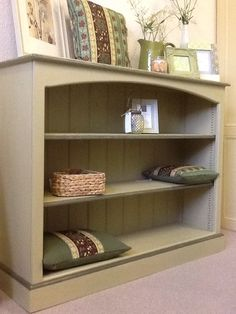 Bookcase finished in Annie Sloan Versailles and Olive. www.thingy-ma-jigs.com
