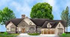 This rustic ranch style home plan gives you great outdoor spaces with porches front and back and a flexible floor plan with a future in-law suite and optional upstairs spaces.The open layout of the vaulted great room, casual dining room and extensive kitchen, boasting a 8'-wide island, makes this a great home for entertaining. The central area features a fireplace flanked by french doors that take you to the 4 season room beyond.Situated for privacy, the master suite features direct access…