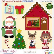 Visiting Santa - EXCLUSIVE Layered TEMPLATES #CUdigitals cudigitals.com cu commercial digital scrap #digiscrap scrapbook graphics