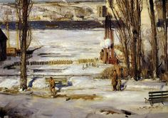 George Bellows (American, 1882-1925), A Morning Snow - Hudson River, 1910. Oil on canvas, 114.5 x 160.5 cm.