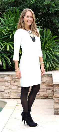 Ann Taylor white sheath dress with black boots