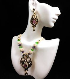 Vintage Faux Pearl Rhinestone Pendant Necklace Earring Set Gorgeous! $39.95 SOLD