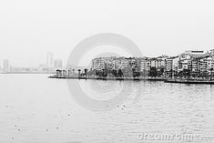 A panorama of Izmir Turkey during a winter day - Black and white image
