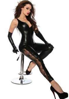 4309ef24aaa 2016 Sexy Lingerie Lady Leather Costume PVC Jumpsuit Sexy Latex Catsuit Sexy  Game Bodysuit Clubwear Lace