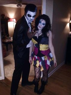 Jack and sally skelington with awesome makeup details awesome homemade jack and sally costume solutioingenieria Choice Image