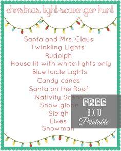 Christmas Light Scavenger Hunt Printable via createcraftlove.com #christmas #printables #25daysofchristmas