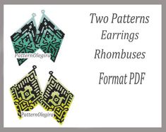Two peyote pattern earrings rhombuses for bead weaving,pattern minty earrings and yellow pattern bead earrings , beading Tutorial earrings . Beaded Earrings Patterns, Peyote Patterns, Weaving Patterns, Bead Patterns, Mint Earrings, Bead Earrings, Brick Stitch Earrings, Earring Tutorial, Beading Tutorials