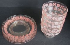 Pyrex Gooseberry Glass Saucer and Sherbert Set of 5 from gracefulantiques on Ruby Lane