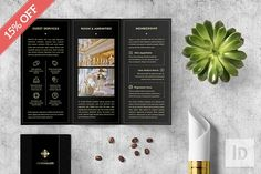 Finely handcrafted template adapted from my 2016 Coffee Blend template, Versailles Tri-fold Template. Perfect for any business type; hotel, resorts, luxury apartment, jewelry, restaurant, agency... you name it! ($10). #ad #adobe #black #branding #brochure #business #corporate #creativemarket #design #elegant #foil #indesign #layout #luxury #printdesign #trifold