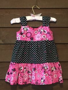 Black and Pink Minnie Mouse Polka Dot Girls by SimplyStitchedbyMKM