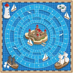 Board Game on the Marine Theme by CaryMc Vector design for app game user interface. Pnp Games, Homemade Board Games, Candy Crush Saga, Game Presents, Board Game Design, Space Games, Game Concept, Game App, Christmas Games