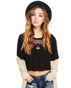 Boho Embroidered Crop Blouse