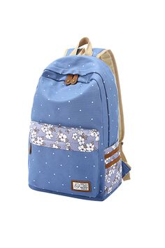 Polka Dot And Floral Printed Backpack In Blue
