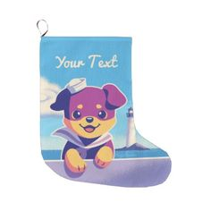 #Rottweiler Puppy Sea Dog Sailor Large Christmas Stocking - #rottweiler #puppy #rottweilers #dog #dogs #pet #pets #cute
