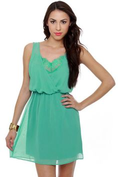 Lovely Turquoise Dress - Blue Dress - Lace Dress - $37.50