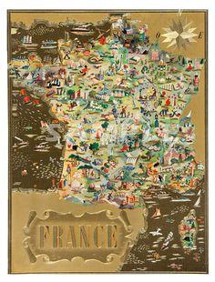 Vintage Artistic Map of France