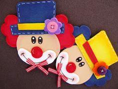 Moldes de palhacinhos  para fazer em eva ou papel, para as lembrancinhas de festas e dia das crianças.