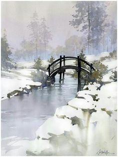 Watercolor landscape forest park winter snow stream by Thomas Schaller