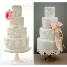 Stunning Wedding Cakes with one large accent {hearts, flowers bows}... ❤ liked on Polyvore featuring wedding cakes