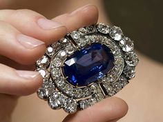 Brooch from a sapphire and diamond demi-parure, circa 1900, inherited from Grand Duchess Maria Pavlovna by her daughter Princess Elena of Greece and Denmark, Grand Duchess of Russia