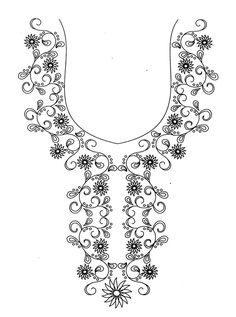 Hand embroidery designs for kurtis neck