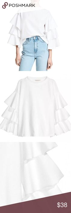 """3 layer white bell sleeve Blouse 3 layer bell sleeve Blouse 100% Brand New and High Quality!!Wash low temperature,Do not BleachMore of high quality material polyester  Color:White, label size xxl fits a 12/L measurements  Bust 39"""" length 23"""" shoulder 21"""" sleeve 18""""     🛍BUNDLE & SAVE 15%🛍 ✨TOP RATED SELLER✨ 📦SAME DAY OR NEXT DAY SHIPPING!📦 ❤REASONABLE OFFERS WELCOME❤ ❌NO TRADES NO PAYPAL ❌ Tops Blouses"""