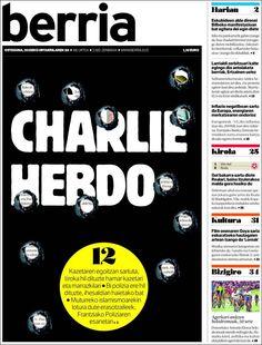 Portada de Berria (España) on Charlie Hebdo attack.