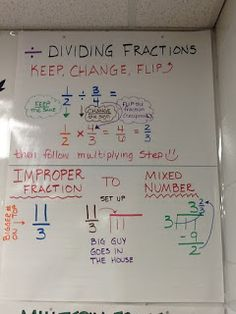 """Math Anchor Chart - """"Flipping"""" Division of Fractions"""
