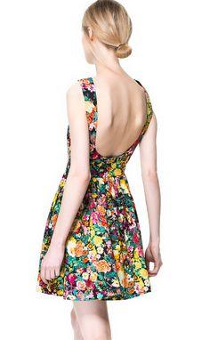 Multi Sleeveless Oil Painting Print Backless Dress