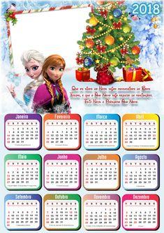Molduras Calendário 2018 de Natal, Papai Noel e Boas Festas