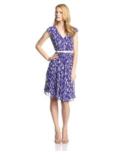 Anne Klein Women's Cap Sleeve Fin Mix Printed Seamed Dress #Teens #Skirt #Dress #partydress #Partywear #Clothing #Fashion #Stylee #Ladies