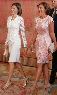 Queen Letizia wears a transparent organza jacket by Felipe Varela to meet with the First Lady of Romania.   Photo: Getty Images
