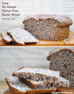Not a huge bread baking fan? Try this super-easy, no-knead, gluten-free rustic bread recipe. It's high fiber, healthy and anyone can make it! | gourmandelle.com